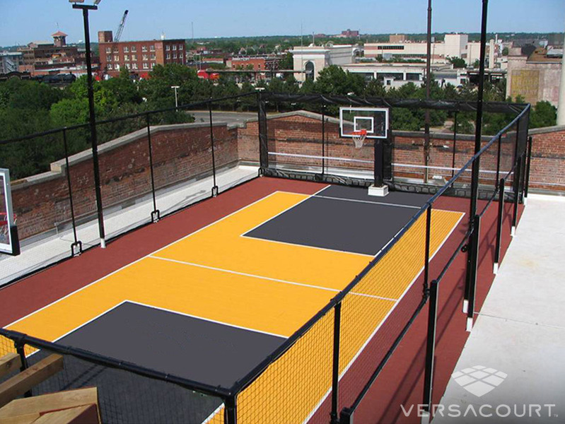 Grass more outdoor services backyard basketball court for Built in basketball court