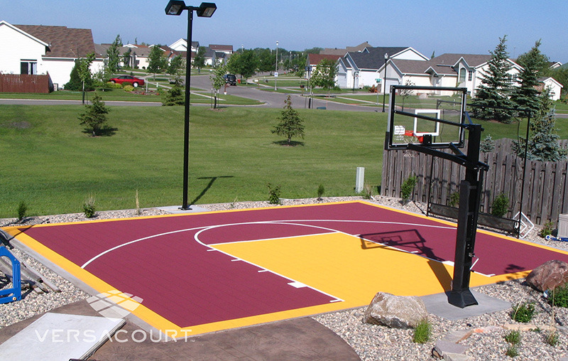 Grass more outdoor services backyard basketball court for Indoor basketball court installation